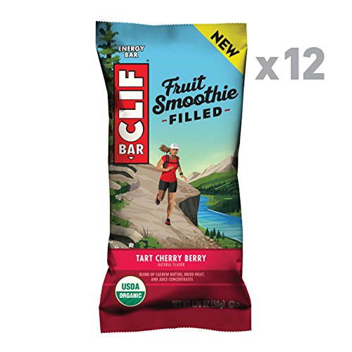 CLIF Fruit Smoothie Filled - Organic Energy Bar - Tart Cherry Berry Flavor - (1.76 Ounce Protein Snack Bar, 12 Count) - Cherry Fruit Bar