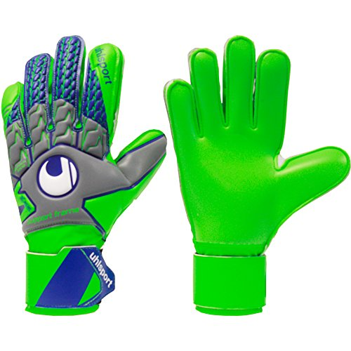 - Mens UHLSPORT TENSIONGREEN SOFT SUPPORT FRAME FINGER PROTECTION Goalkeeper Gloves For Soccer