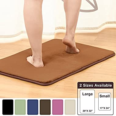 Memory Foam Bathrug - Chocolate (Brown) Bath Mat and Shower Rug Large 20  x 32  Inches, Non Slip Latex Free Plush Microfiber. Comfortable, Beautiful and Maximum Absorbency.