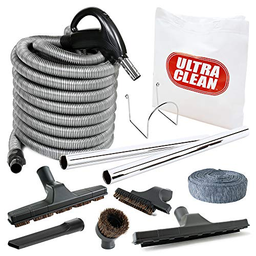 Deluxe Vacuum Hose - Plastiflex Central Vacuum Deluxe Hardwood, Bare Floor and Carpet Kit with 30ft Hose and Accessories