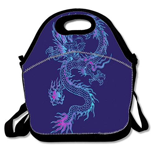 (Purple Chinese Dragon Reusable Neoprene Lunch Bag Insulated Lunch Box Tote for Women Men Adult Kids Teens Boys Teenage)