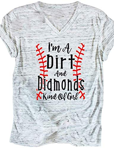 Enmeng Womens I'm A Dirt and Diamonds Kind of Girl Shirt Casual Sports Baseball Tee Tops (M, White)