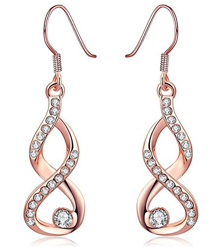 Amazon #LightningDeal 65% claimed: Womens Fashion Infinity Hook Dangle Earrings with Cubic Zirconia Rose Gold by Joyfulshine