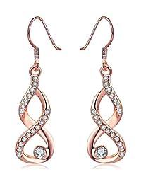Joyfulshine Womens Infinity Hook Dangle Earrings with Cubic Zirconia Rose Gold Earrings