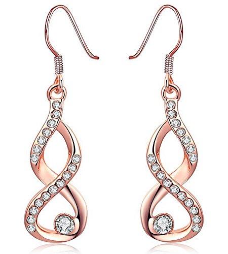 women earrings dangle earrings wedding jewelry bride bridal earrings gifts_drop earrings rose gold earrings_cubic zirconia earrings girls earrings_jewellery woman birthday gift_fashion earrings jewelry