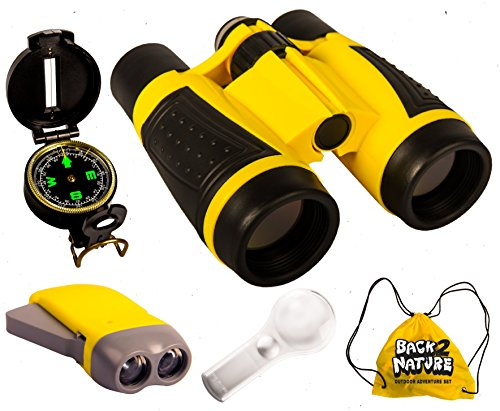 Outdoor Set for Kids - Binoculars, Flashlight, Compass & Magnifying Glass. Explorer Toys Kit for Playing Outside, Camping, Bird Watching, Pretend Play. Educational Gift for Children. by Back 2 Nature