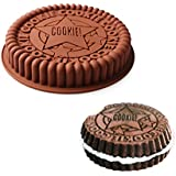 Delidge 7.5 inch Large Size Round Oreo Cookie Mold Silicone Cake Mold Pan Pizza Tray Bakeware (3.Biscuit Fondant)