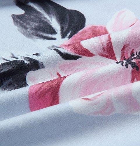 Comodo Top Maglie Fiore Sexy Stile A Grigio Moda Bluse Elegante Collare Manica Stampato Donna shirt T V Signora Lunga Unico Maglietta Oufour Tunica Chiffon Camicetta Party wxp1IfPq