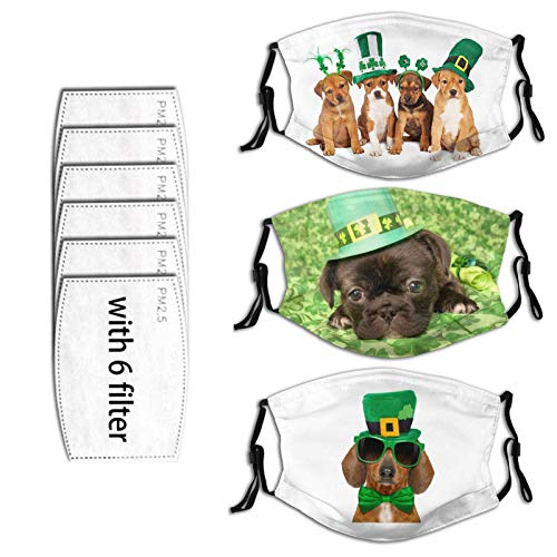 Happy St. Patrick's Day balaclava with 6 filters, face holiday decoration dustproof accessories