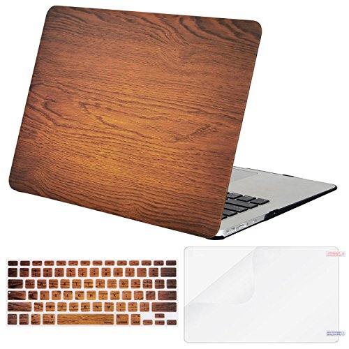 Mosiso Plastic Pattern Hard Case with Keyboard Cover with Screen Protector for MacBook Air 13 Inch (Model: A1369 and A1466), Wood Grain