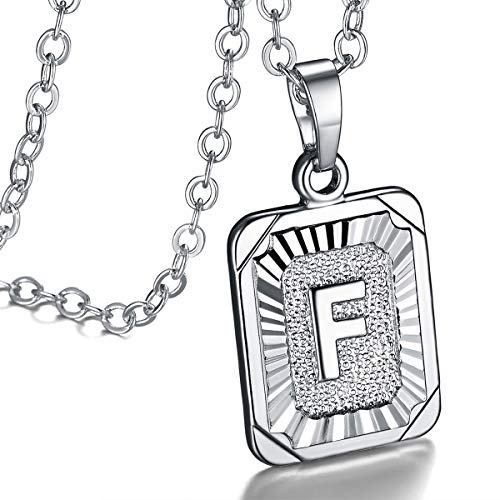FOCALOOK Monogram Necklace A-Z 26 Letters Pendants Platinum Plated Square Script Initial Jewelry with Stainless Steel 22 Inch Chain, Capital Alphabet Necklaces for Women Girls (Letter F) (Men Silver Pendant)
