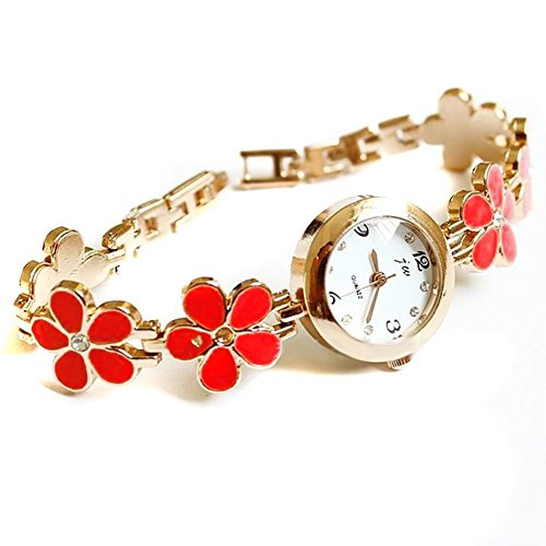 UZZO Women Girl Alloy Crystal Fashion Stylish Daisy Flower Bracelet Bangle Wrist Quartz Watch Rose Gold,Great Gift for your girlfriend or wife(Red) +Free UZZO logo Key Ring
