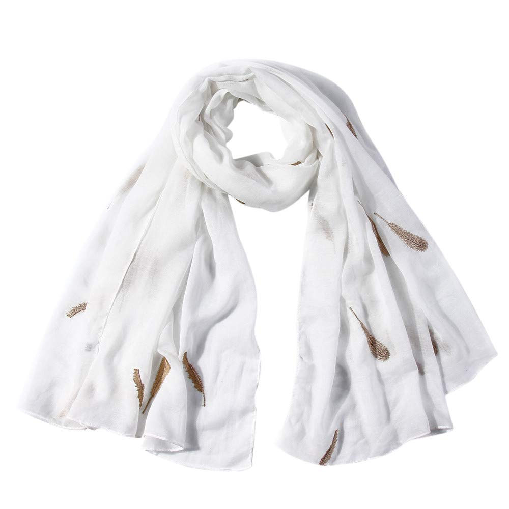 Lovewe Women Feather Embroidered Scarf,Soft Shawl,Long Scarf (White)