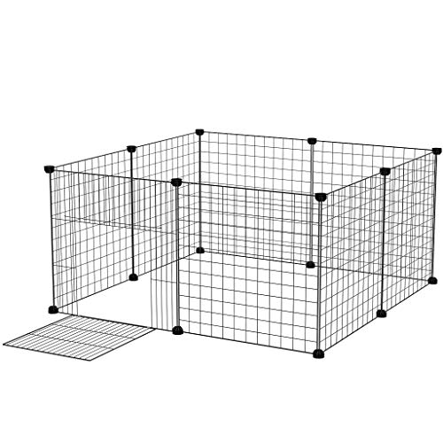 - Rackaphile Small Dog Playpen Indoor, Small Animal Pet Playpen with Door DIY Metal Wire Portable Pet Fence Cage Kennel Crate for Cats, Puppy, Rabbit, Ferret, Guinea Pig, Bunny (8 Panels)