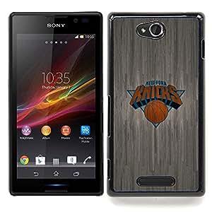 """Qstar Arte & diseño plástico duro Fundas Cover Cubre Hard Case Cover para Sony Xperia C (Patrón Knicks Madera"""")"""