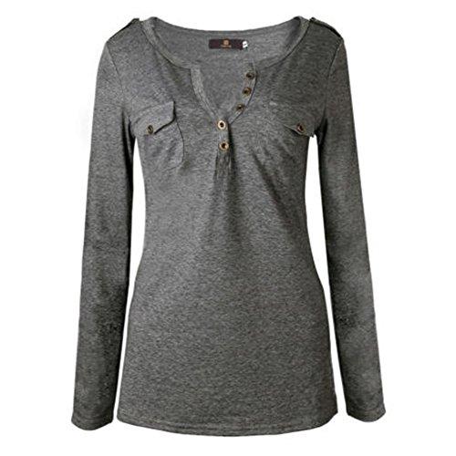Profond V Gris Couleur 6XL Longues T Casual Chemisier Shirt Haut Solide Blouse Juleya Femme Coton S Outwear Blouses Chemises Tenues Cou xqIRwHtF7