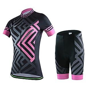510gKX0yRWL. SS300 SKYSPER Completo Abbigliamento Ciclismo, Set Abbigliamento Ciclismo per Coppia Ciclismo Maglia Manica Corta + Pantaloni…