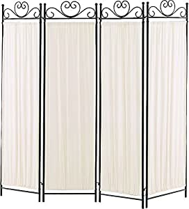 Coaster 4-Panel Elegant Room Divider Screen, Ivory Fabric, Metal Frame