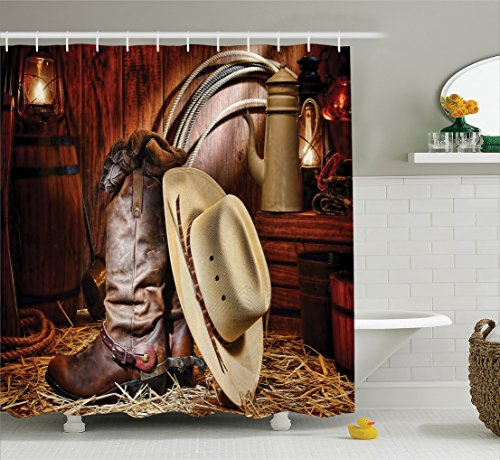 Western Decor Shower Curtain Set By Ambesonne, Authentic American West Rodeo Elements With Antique Ranching Supplies Retro Art Photo, Bathroom Accessories, 69W X 70L Inches, Brown Beige