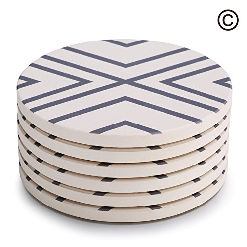 "Lifver 6-Piece Absorbent Stone Coaster set, ""drink"" spills coasters, Grey-Lines"