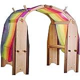 Camden Rose Waldorf Curly Maple Playstand Playroom Set w/Vibrant Rainbow Silk Canopy