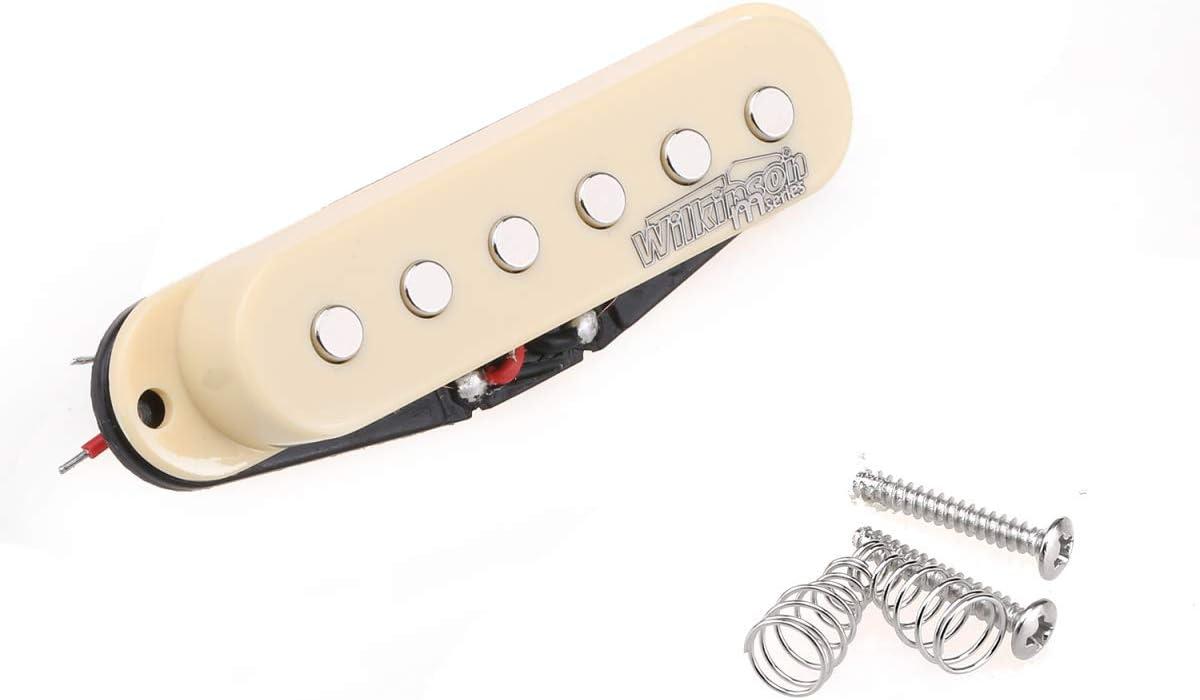 Wilkinson High Output Cer/ámica Pastilla de Bobina Simple Pickup Puente para Guitarra El/éctrica Estilo Strat Crema