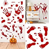 Halloween Horror Door Stickers, Businda Window Wall Stickers PVC Material Bloody for Halloween Party Room Decoration, 8pcs