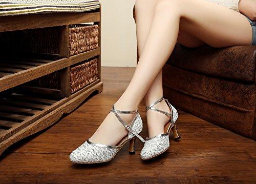 Latin Minishion Silver Pumps Ballroom Dance Womens TQJ7069 Glitter Chunky Low Shoes Heel Tango O0SgOwq