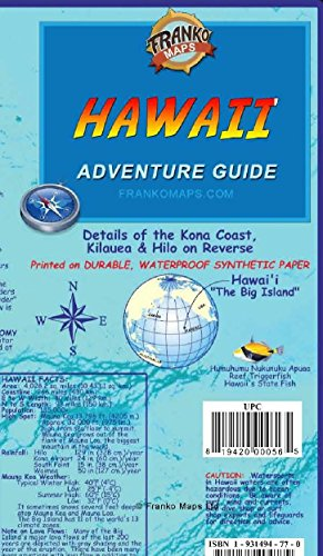 Hawaii The Big Island Adventure Guide Franko Maps Waterproof Map