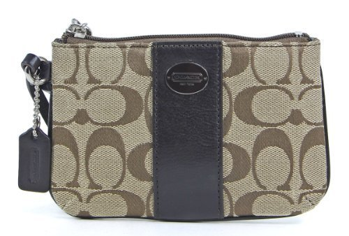Coach Signature Small Wristlet Khaki Mahogany 2 Fabric Wallet Purse 49323B-SKHMH by Coach