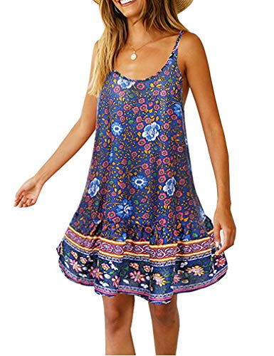 Qearal Women's Cami Dresses ,Flower Print Boho Dress Sexy Beach Bikini Swimwear Cover Up Tunic Swing Dresses with Pocket BL M Navy Blue