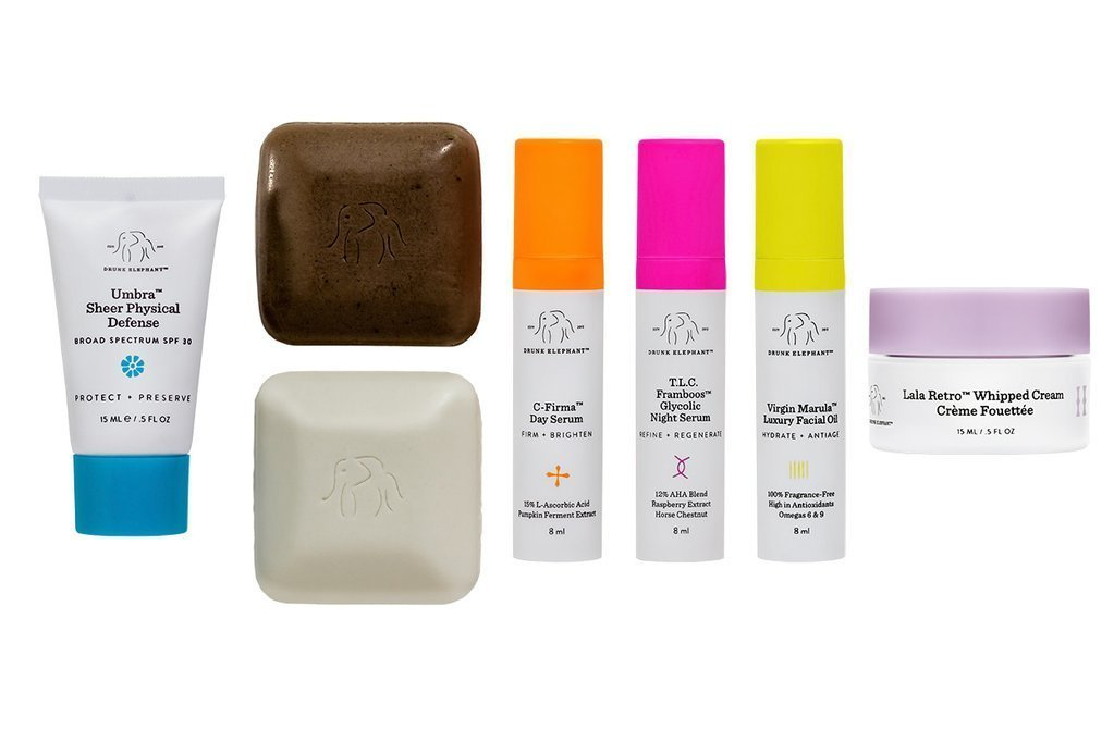 Drunk Elephant The Littles Kit. Travel Size Skin Care Kit (2 Facial Cleansers, SPF 30 Sunscreen, Day and Night Serums, Facial Oil, and Moisturizer)