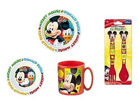 Disney Mickey mouse, 0051, Vajilla infantil apta para microondas. Productos de plástico, No bpa (Mickey Mouse)