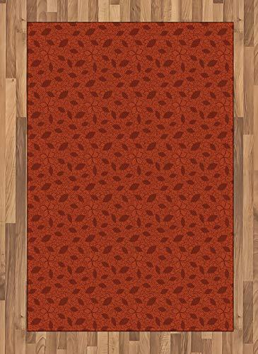 Amazon Com Ambesonne Burnt Orange Area Rug Leafage Pattern With