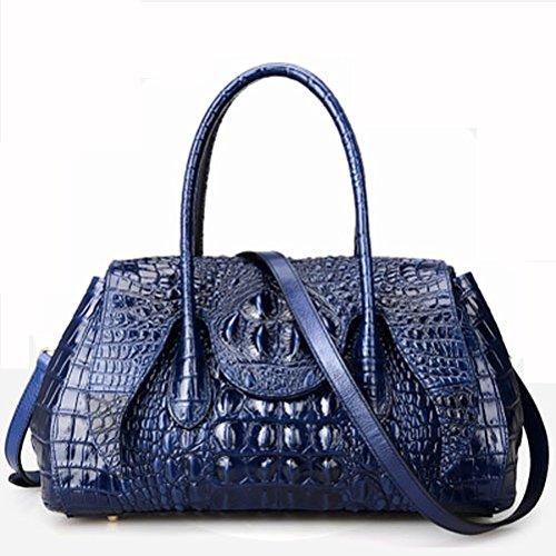 Azul Classic Patrón Bolso Para Mujer City Tote Genuino Jsix Bandolera Croco De Cocodrilo Diseñador Bolsa Cuero Zd7qP