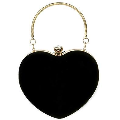090c943e20 LABANCA Women's Suede Heart Shape Evening Party Bag Messenger Purse Handbag  Clutch Bag Black