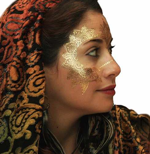 (Metallic Temporary Tattoos by Golden Ratio Tats, Festival face Paint, Gold and White Flash Tattoos (Henna Hannah Face)