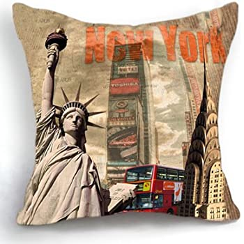 Doliving Throw Pillow Cover 18x18 New York Statue of Liberty Home Decoration Cushion Cover for Couch Sofa Bed