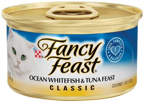 Fancy Feast Gourmet Cat Food, Ocean Whitefish and Tuna Feast, Classic 3-Ounce Cans (Pack of 24), My Pet Supplies