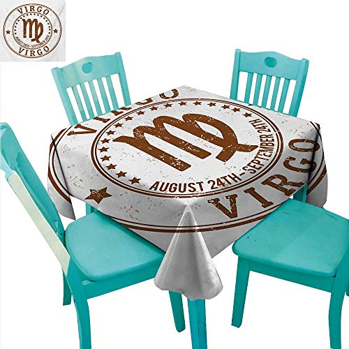 - WilliamsDecor Zodiac Virgo Decorative Textured Fabric Tablecloth Astrology Grunge Rubber Stamp Design with Stars and Dates Retro Sign Great for Buffet Table 70