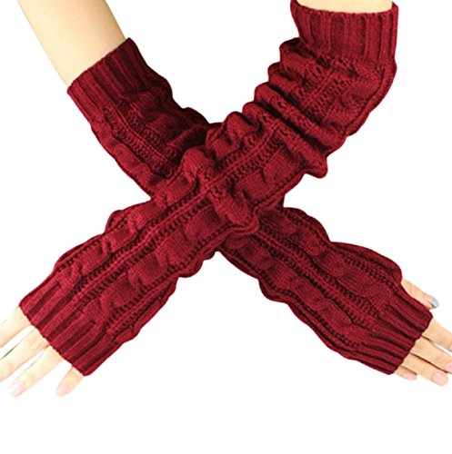 Vovotrade Winter Wrist Arm Hand Warmer Knitted Long Fingerless Gloves (Red-C)