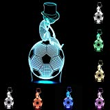 Unitake LED Desk Lamp Christmas Meditation Football 3D Effect Optical Illusion Football Thinking Art Night Lightswith Touch Lamp
