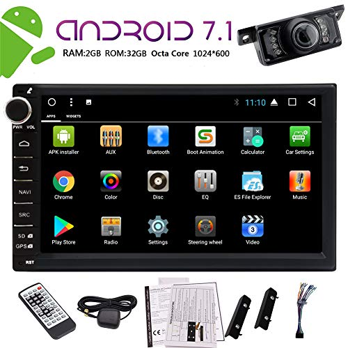 EinCar 7 inch Double din Car GPS Navigation Android 7.1 Octa Core 2G+32G in Dash Car Stereo Radio Receiver Support Bluetooth WiFi 4G/3G OBD BT USB/SD + Free Backup Camera