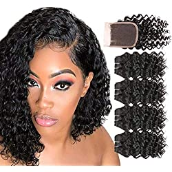 FASHION LINE Brazilian Body Wave Water Deep Loose Curly Weave Human Hair Bundles with Lace Closure Spiral Curl Unprocessed Human Hair Funmi Natural Black (Deep Wave, 4 Bundles with 4x4 Lace Closure)