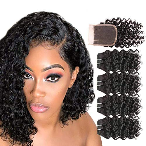 FASHION LINE Brazilian Body Wave/Water Wave/Deep Wave/Funmi/Human Hair Bundles with Lace Closure Unprocessed Human Hair Natural Black(Deep Wave, 4 Bundles with 4x4 Lace Closure) ()