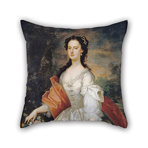 The Oil Painting Vanderbank, John - Portrait Of A Woman In White Pillowcover Of 18 X 18 Inches / 45 By 45 Cm Decoration Gift For Home Relatives Bar Home (Snuggle Leather Loveseat)