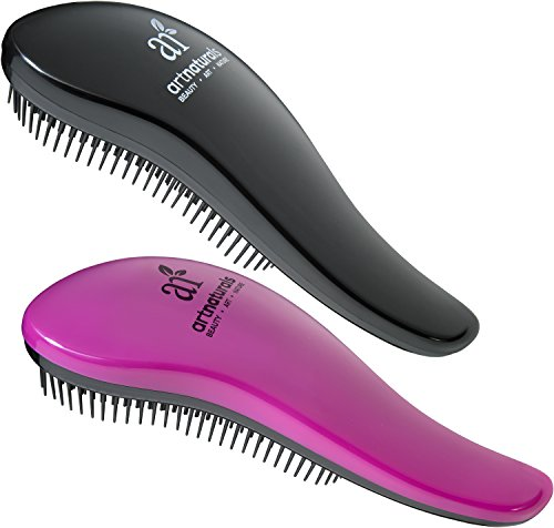 Art Naturals Detangling Hair Brush 2pc Set, Pink & Black - Glide the Detangler Through Tangled Hair - Best Brush / Comb for Women, Girls, Men and Boys - Use in Wet and Dry Hair - Top Detangling Brush