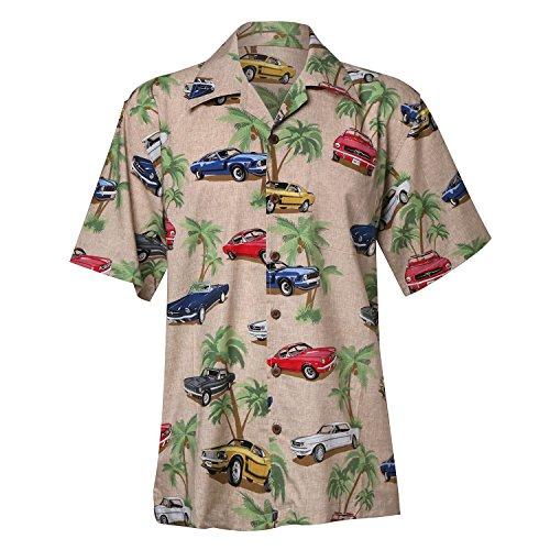 David Carey Ford Mustang Hawaiian Camp Shirt – Retro Inspired Button up Collared Short Sleeve Beige Club Shirt