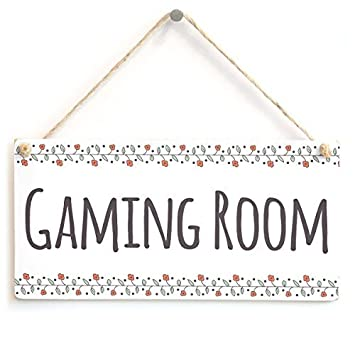 Gaming Room Wood Signs Shabby Chic Wooden Plaque Stylish Door Wall Sign Poppy
