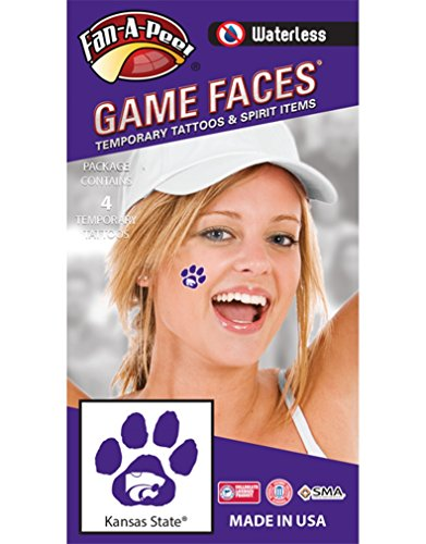 Kansas State University (KSU) Wildcats – Waterless Peel & Stick Temporary Spirit Tattoos – 4-Piece – White Willie Wildcat Head Logo on Purple Paw -